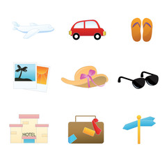 a set of collection of simple travel icons