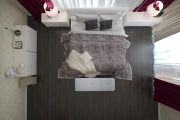 вид сверху на кровать