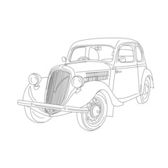 contour of retro car on isolated white background