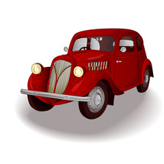Red retro car on isolated white background