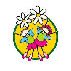 Vector children on flowers