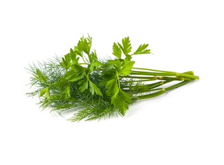 Parsley and dill isolated on white background