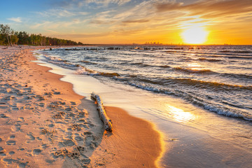 Sunset on the beach at Baltic Sea in Poland Wall mural