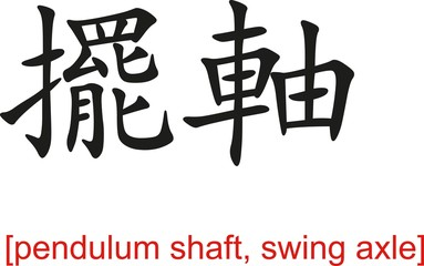 Chinese Sign for pendulum shaft, swing axle