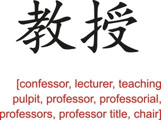 Chinese Sign for confessor, lecturer, teaching pulpit,professor