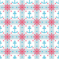 Seamless sea pattern with anchors and hand wheels