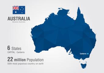 Wall Mural - Australia world map with a diamond pixel texture.