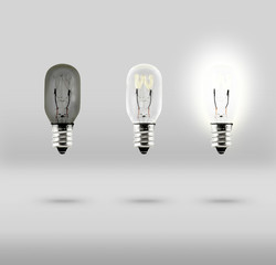 Sequence of Creative idea,three bulb in studio room