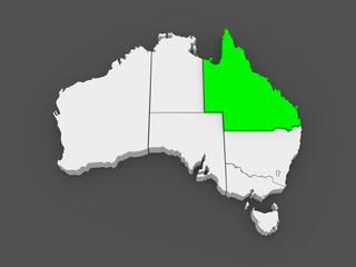 Map of Queensland. Australia.