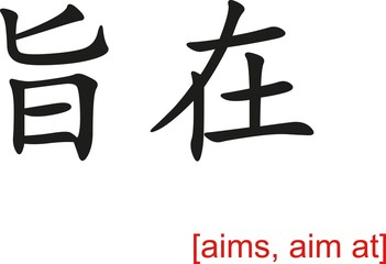 Chinese Sign for aims, aim at