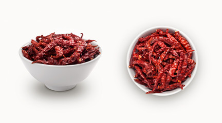 dry red chili isolated on white background