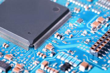 processor and blue circuit board closeup