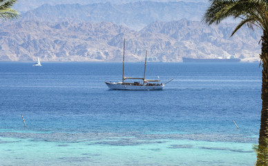 View on the Aqaba gulf from north beach of Eilat