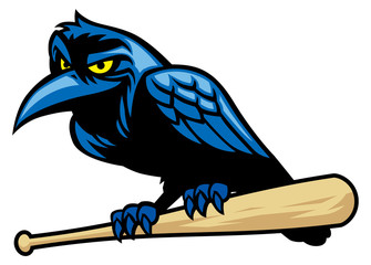 raven mascot and the baseball bat