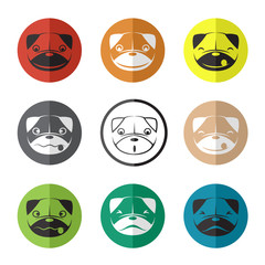 Vector group of dog face in the circle