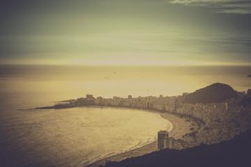Copacabana Beach vintage view in Rio de Janeiro, Brazil