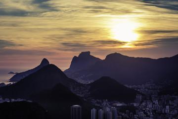 Sunset over mountains in Rio de Janeiro, Brazil