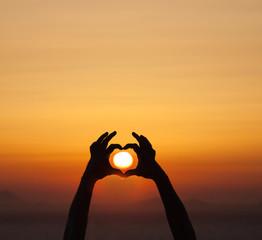 Tramonto, cuore, sole