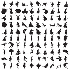 Set of Hundred Classic Ballet Silhouettes