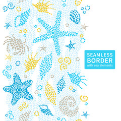 Bright seamless border with sea elements.