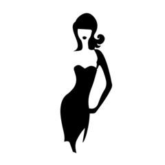 silhouette girl model sheath dress