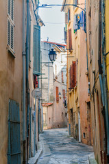 View of a little street in the town of Brignoles in Provence, south of France