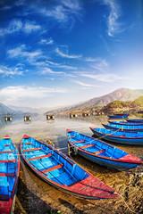 Wall Murals Nepal Boats in Pokhara lake