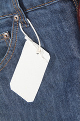 Blue jeans pocket with price tag