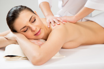 Woman on healthy massage of body