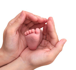 Baby foot in mother hands on white background.