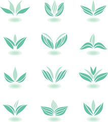 Blue floral icons