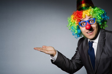 Wall Mural - Clown businessman in funny concept