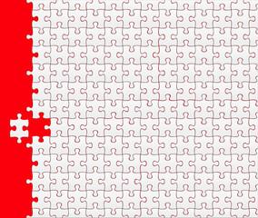puzzle vierge sur fond rouge avec pièce déplacée