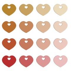 hart vormen verschillende rood tinten