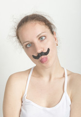 A woman with a mustache