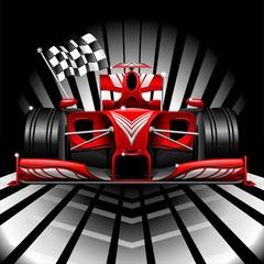 Obraz Czerwony samochód wyścigowy Formuły 1 i flaga w szachownicę - fototapety do salonu