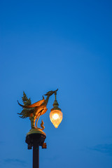 Golden Swan with blue sky