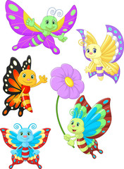Cute butterfly cartoon collection set