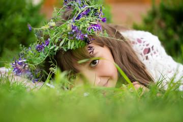 Cute girl having fun on the nature