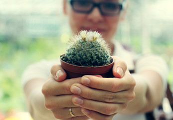 woman with cactus