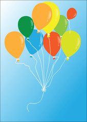 vector colored balloons flying in the blue sky