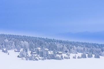Hütten im WInterwald