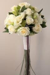 white rosess wedding bouquet