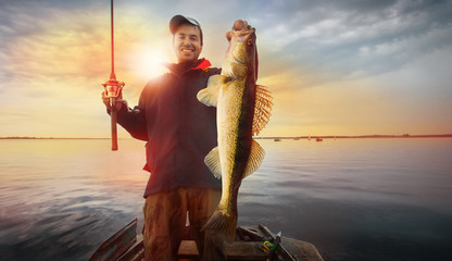 Printed roller blinds Fishing Happy angler with zander fishing trophy