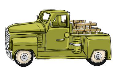 Green Pickup Truck Tin Metal Car Toy Miniature
