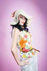 pin up girl in a big hat