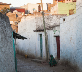 Narrow alleyway of ancient city of Jugol early in the morning. H