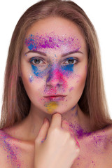 Gorgeous girl with fashion colour make up