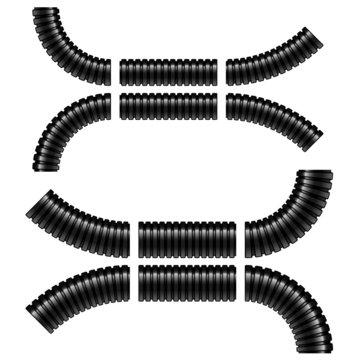 vector black corrugated flexible tubes