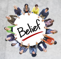Multiethnic Group of People and Belief Concepts